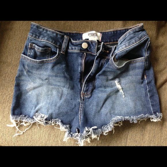 NWT VICTORIA/'S SECRET PINK 6 8 DISTRESSED FRAY CUT OFF HIGH WAISTED JEAN SHORTS